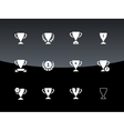 Awards and cup icons on black background vector image