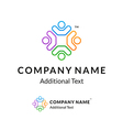Bright Colorful Twisted Logo with United People vector image