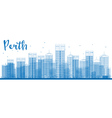 Perth skyline with blue buildings vector image