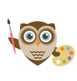 Cute owl artist holding brush and palette vector image
