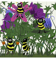 Cartoon meadow and bees vector image