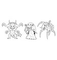 cartoon set of dangerous monsters - lizard snail vector image