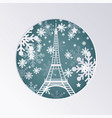 christmas paper cut greeting card with eiffel vector image