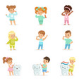 cute little boys and girls brushing teeth vector image