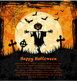 Orange grungy halloween background with scarecrow vector image