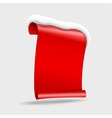 realistic Shiny gloss red banner wit snow vector image vector image