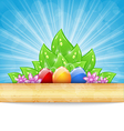 Easter background with colorful eggs leaves vector image vector image