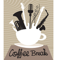 Drink coffee listen to music vector image