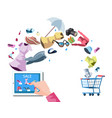 web store market with purchasing product process vector image vector image