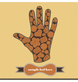 composition with cookies on the handprint vector image vector image