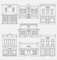 store shop front window buildings black icon set vector image