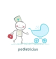 pediatrician came to a sick child in a stroller vector image vector image