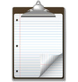 clipboard school ruled note pad vector image vector image