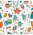 Cute hand drawn seamless pattern of winter related vector image