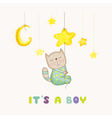 Baby Cat Sleeping on a Star - Baby Shower Card vector image