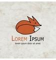 Funny fox design on grunge paper vector image