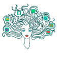 Girl with social media icons in hair vector image