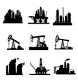icons of oil derricks and gas mining plants vector image