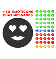 lady love smiley icon with bonus smile set vector image