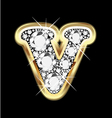 letter v gold and diamond vector image