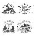 set of kayak camping and caravanning club badge vector image