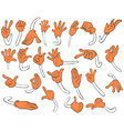 Set of orange hands vector image