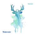 Watercolor deer head on the white background vector image