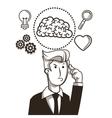 businessman brain sketch design vector image