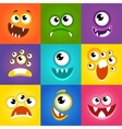 Monster expressions Funny cartoon faces vector image
