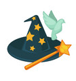 witch hat with stars magic wand and dove isolated vector image