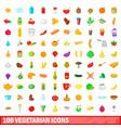 100 vegetarian icons set cartoon style vector image