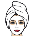 beautiful young woman getting facial mask vector image