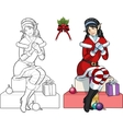 Christmas elf Asian girl with mistletoe lineart vector image
