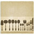 cutlery tableware set old background vector image