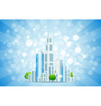 Blue Background with Business City and Rays vector image vector image