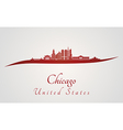 Chicago skyline in red vector image