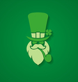 head leprechaun hat on a dark green background vector image