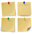Set of yellow sticky notes with push-pins vector image
