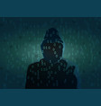 silhouette of hacker dark figure vector image