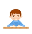 Student sitting at her desk read book vector image