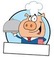 Waiter Pig Serving Food On A Platter vector image vector image