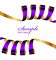 purple and gold ribbon frame vector image vector image