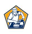 Chef Cook Slicing Ham Retro vector image vector image