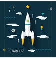 Retro Flat Design Space Launch Start Up Concept vector image