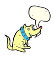 cartoon happy dog in big collar with speech bubble vector image