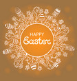 happy easter wreath with flowers herbs and eggs vector image