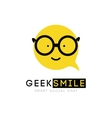 logo smiley with glasses clever cartoon cheerful vector image