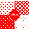 polka dot seamless pattern background set red and vector image