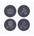 Save nature auction and scales of justice icon vector image