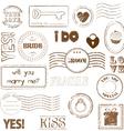 set of wedding postage stamps vector image